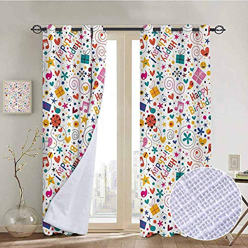 NUOMANAN Blackout Curtains for Bedroom Birthday,Dotted Spirals Stars Hearts Musical Notes Surprise Present Boxes Pattern Smiling,Multicolor,Darkening Grommet Window Curtain-1 Pair 52