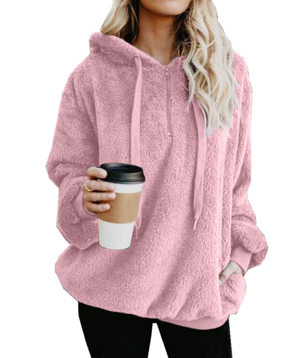 Asskdan Women's Teddy Fleece Long Sleeve Hoodie Hooded Sweatshirt Drawstring Pullover Fuzzy Velvet Sweater Outwear (S, Pink)