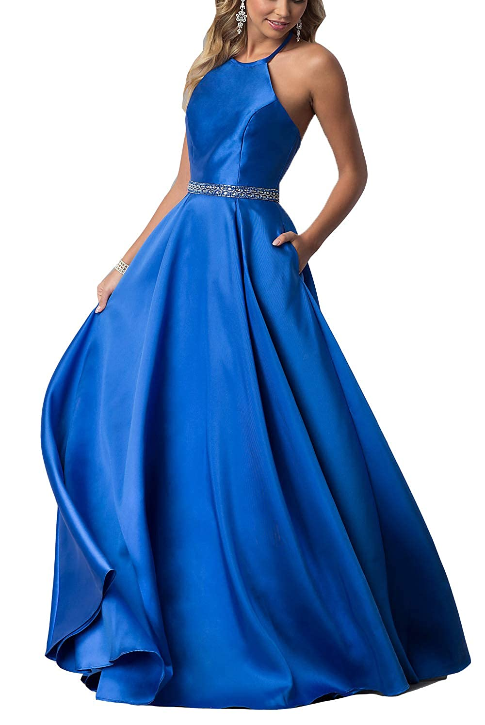 bluee YMSHA Women's Halter Prom Dresses with Pockets Long Satin Crystal Evening Formal Gown O38PM