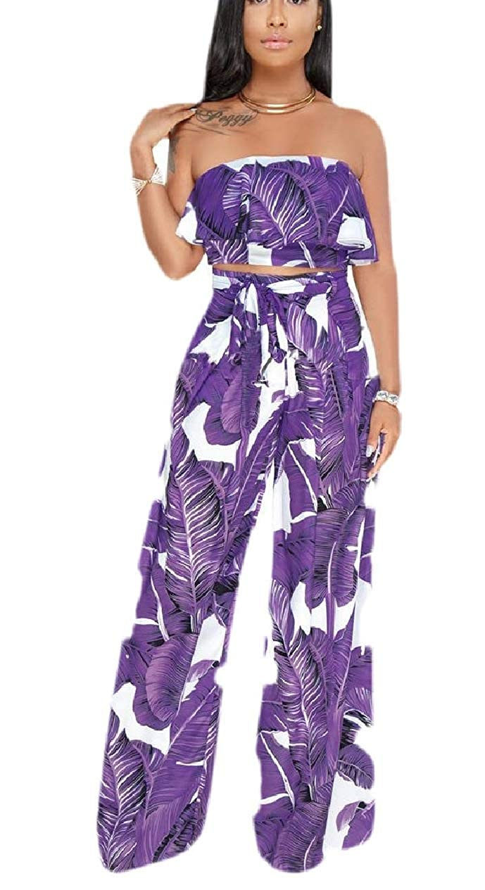 HTOOHTOOH Womens Two Pcs Outfits Leaf Print Ruffle Crop Top /& Palazzo Pants Sets