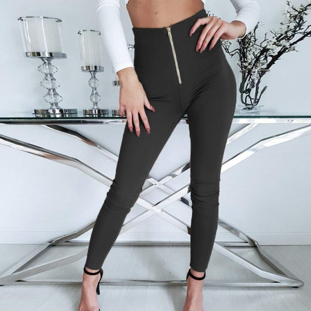 VLDO Women Pure Color High Waist Zipper Tight Fitting Pants Casual Trousers