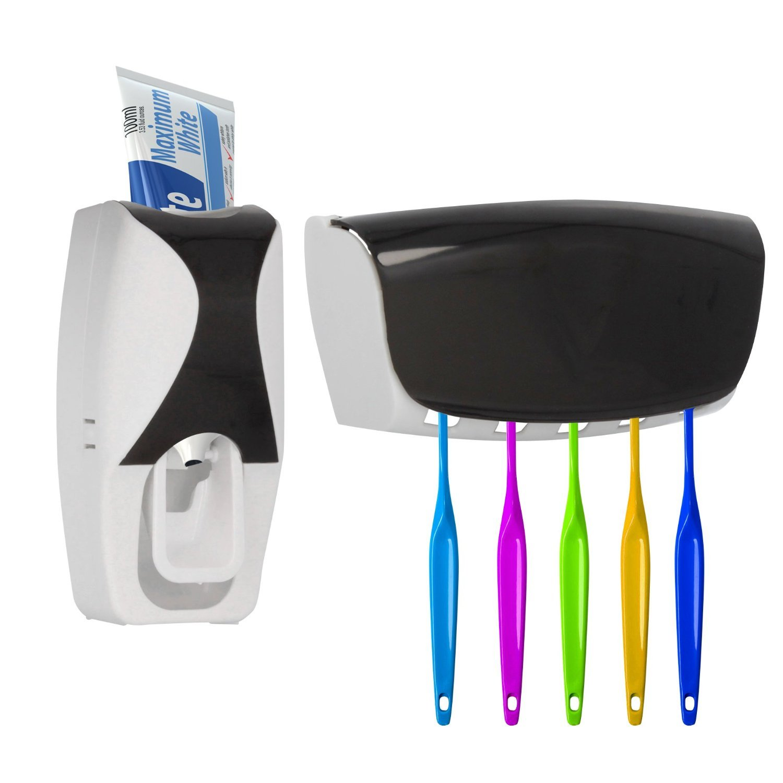 Zahnputzset: Zahnpastaspender und Zahnbürstenhalter, Zahnbürsten ...