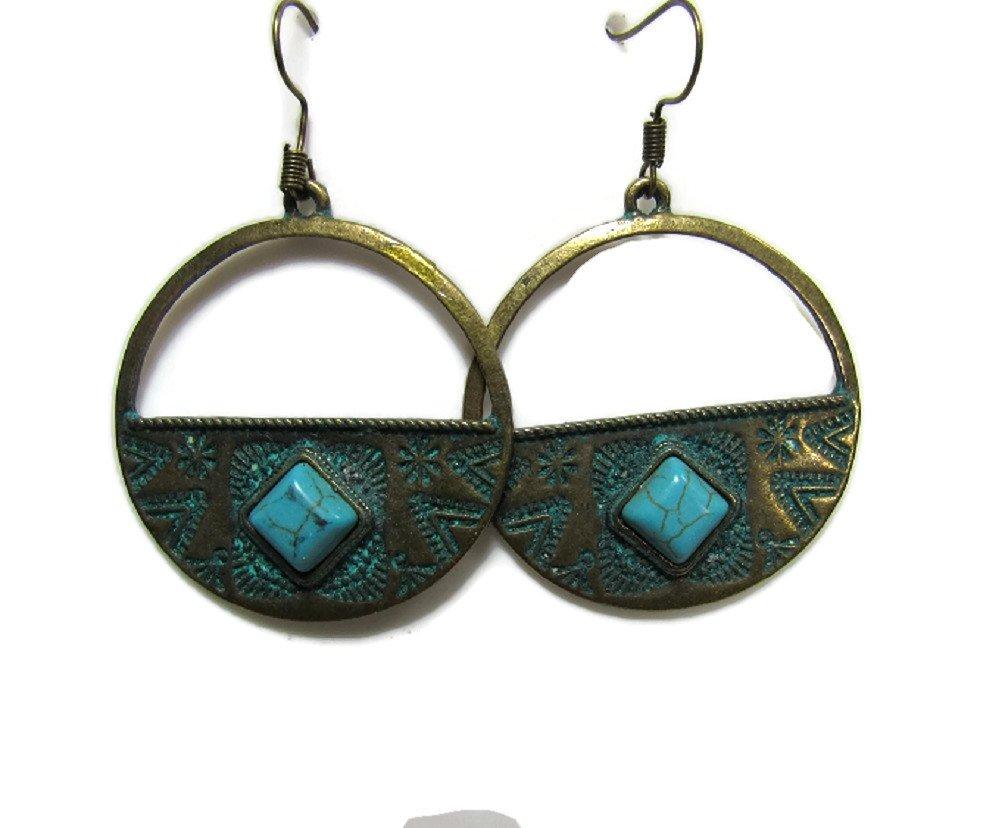 Antique Gold-Tone Metal Statement Earrings Vintage Retro BOHO Patterns (Turquoise Moondrop, Gold Tone)