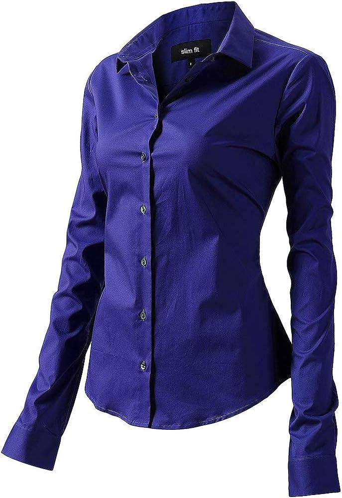FLY HAWK Bluse Hemdbluse Damen Hemd Basic Kent-Kragen Elegant OL Work Slim Fit Langarm Stretch Formelle Hemden Gr/ö/ße 34 bis 52