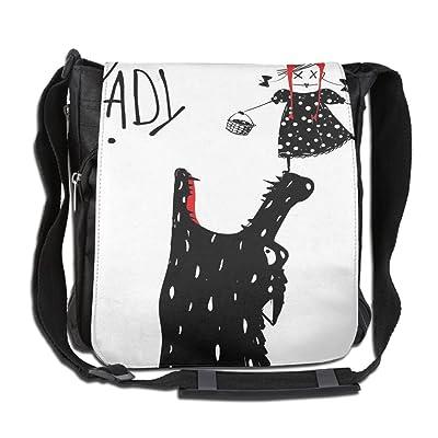 Lovebbag Cartoon Design Print With A Little Red Riding Hood Girl And Wolf Crossbody Messenger Bag