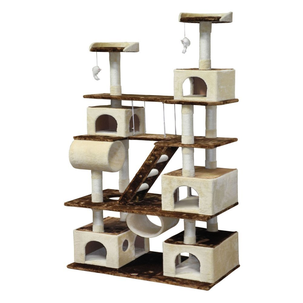 Go Pet Club Huge 87.5 in Cat Tree Condo House Furniture Brown/Beige