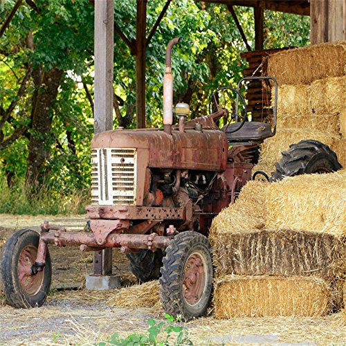 OFILA Ranch Barn Backdrop 5x5ft Old Tractor Agriculture Country Style Background Haystack Rural Landscape Western Cowboy Party Decoration Kids Boys Birthday Photos Autumn Events Video -
