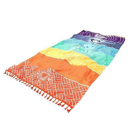 Mandala yoga mat Rainbow Chakra Toalla de playa manta para baño toalla yoga mat 7 Chakra Tapicería de Colores Toallas de Playa Rectangular Estilo ...