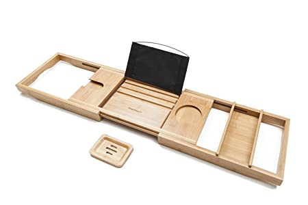Luxury Bamboo Bath Caddy with Extending Sides - FREE Soap Dish | Non ...