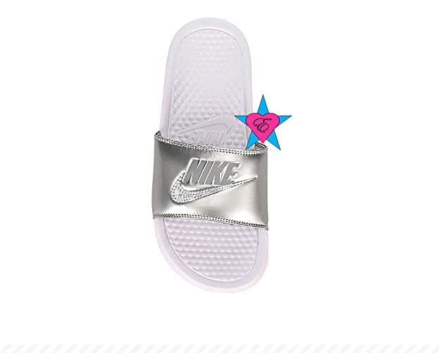 fe3c5f01c2a Amazon.com  Sale Bedazzled Glitter Metallic Silver Nike Benassi JDI Print  Sport Slides  Handmade