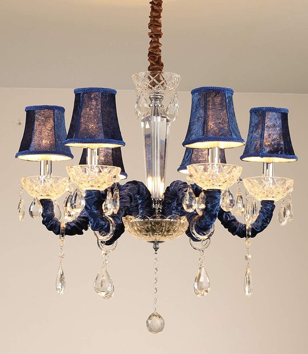 Lampe de Plafond Bougie Cristal Verre Plafonnier Lampe Suspension Pour Le Salon Moderne Suspendu Luminaires 6 Bras Violet Bleu-6 Douilles avec Abat-jour