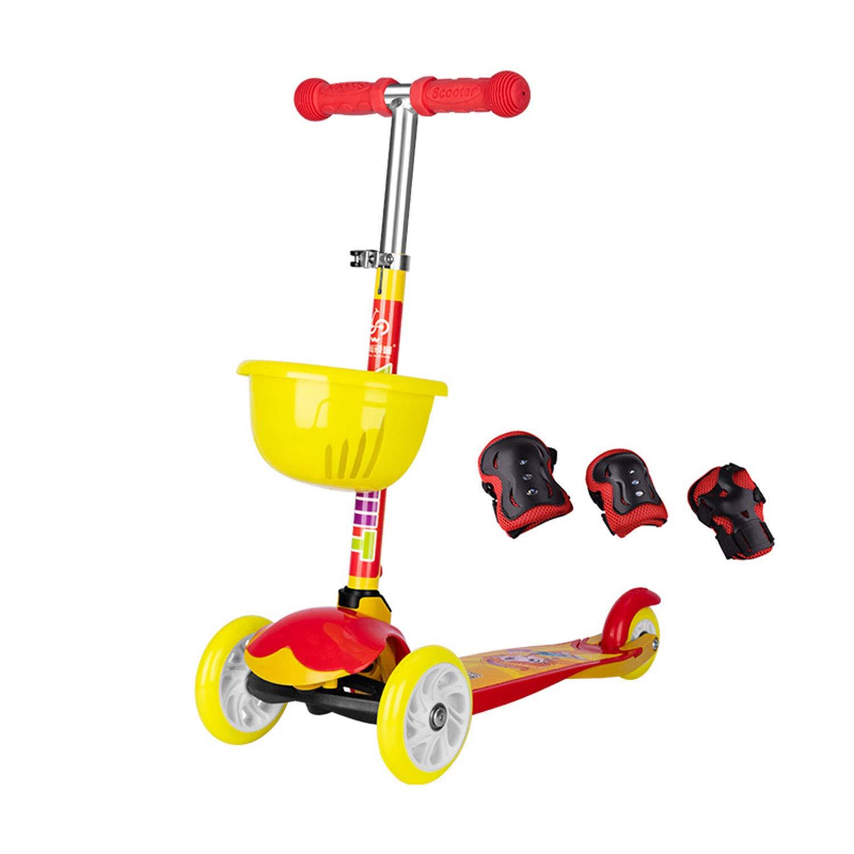 Kinder Roller Dreirad-Roller Auto Ausbalancieren DREI-Gang-Hubeinstellung Kann Gefaltet Werden Flash-Rad 2-4 Jahre Alt Gelb