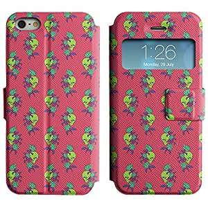 AADes Scratchproof PU Leather Flip Stand Case Apple iPhone 5 / 5S ( Skull And Rose )