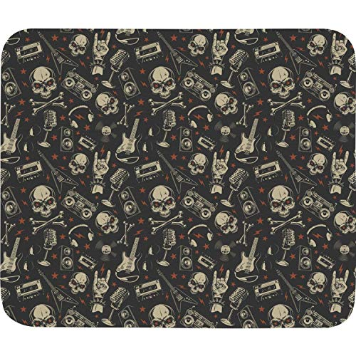 Skull with CD Guitar Colorful Elegant Non-Slip Rubber Base Rectangle Computer Mouse Pad Customized for Laptop Home 7.9x8.9 Inch ()