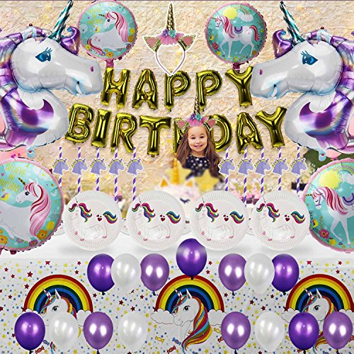 Unicorn Party Supplies Happy Birthday Decorations Banner for Kids by MISSCOO