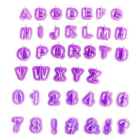 40 x pieza Alfabeto para galletas Cortadores Niños Fiesta DIY Fondant mazapán Cutter Galletas Formas Moldes