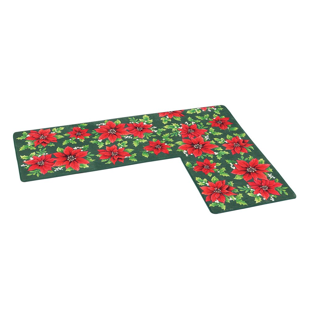 Holiday Poinsettia L-Shaped Corner Rug Skid Resistant Collections Etc