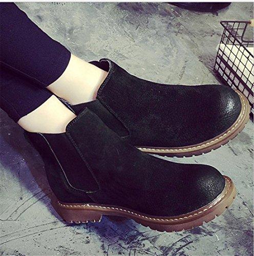 Retro England Damen Leder Pelz Pigskin Anckle Mode Schneeschuhe Ankle Boots Schwarzer Samt