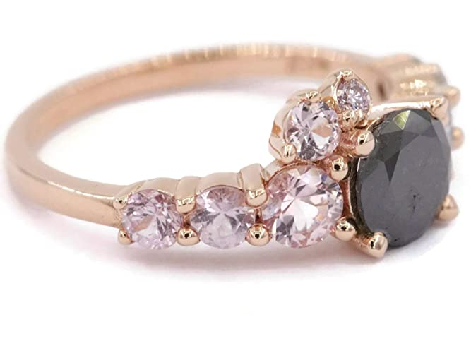 50a47f5d0f993 Amazon.com: Black Diamond Rose Gold Cluster Diamond Engagement Ring ...