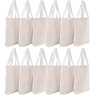 a417de4202d3 Amazon.com  BagzDepot Canvas Tote Bags Wholesale - 12 Pack - Plain ...