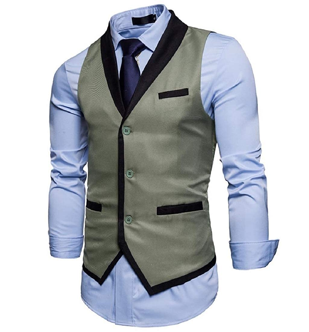 AngelSpace Mens Formal Lapel Casual Assorted Colors Suit Separate Vest