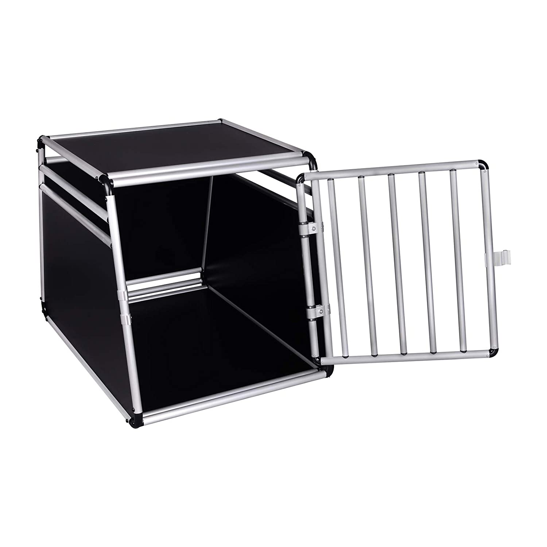 EUGAD Transportbox Hundebox Hundetransportbox Hund Aluminium Reisebox Gitterbox Auto 1 T/ürig Weiss Schwarz EHT470