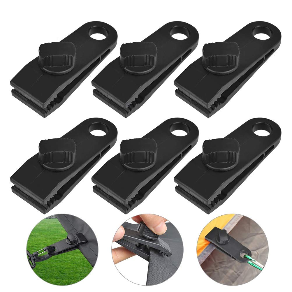 ATPWONZ 6Pcs Tarp Clips Heavy Duty Lock Grip Awning Clamp Set Instant Clip for Camping Canopies, Tarps,Caravan