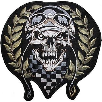 skull racing patch biker jacket vest amazon co uk car motorbike
