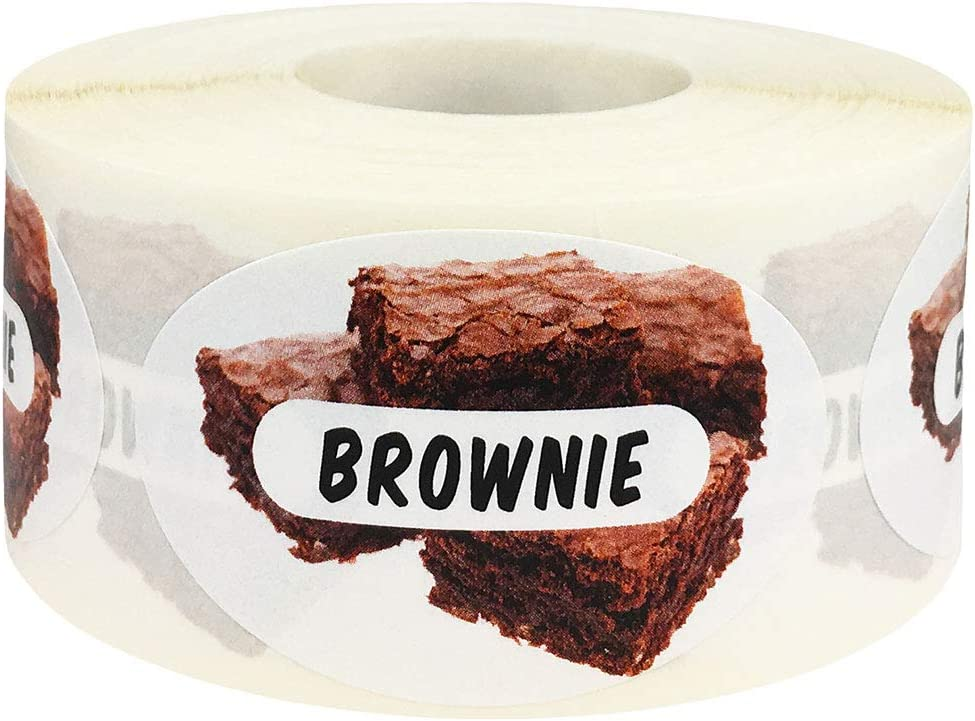 Brownie Grocery Store Food Labels 1.25 x 2 Inch Oval Shape 500 Total Adhesive Stickers