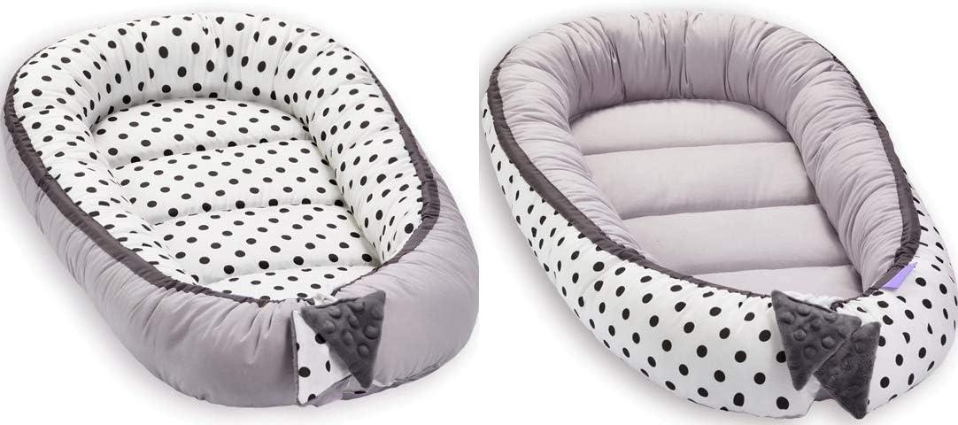 Grand Baby-Nest Cocon pour b/éb/é R/éducteur de lit b/éb/é de 0 /à 8 mois R/éversible Nid Pod Cocoon 100/% Coton 90cm x 50cm gris noir points Grey with Black Polka dot