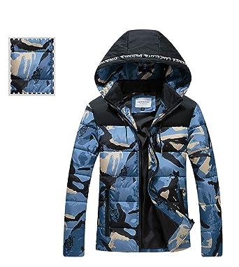 HUAN Abrigo con capucha para hombre Camuflaje Abrigos abrigos Outwear Chaquetas de invierno 2018 Nuevo (