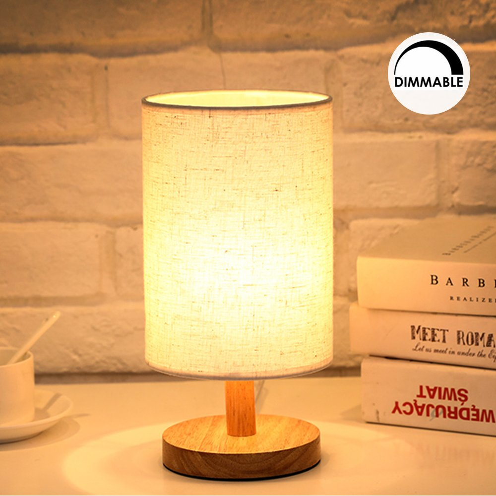 Dimmable Bedside Desk Table Lamp - Small Wooden Round table lamp Kit,Lamp bulb E27 Warm White included,Minimalist Night Stand reading light for any room,Living,Baby Room,Kids,girls bedroom,by Brightfour