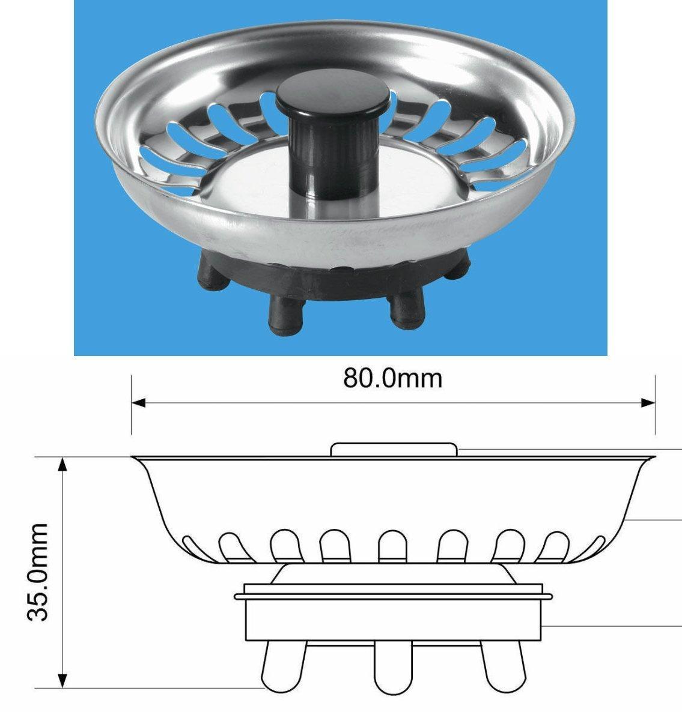 2X McAlpine Replacement Basket Strainer Waste Plug BSKTOP