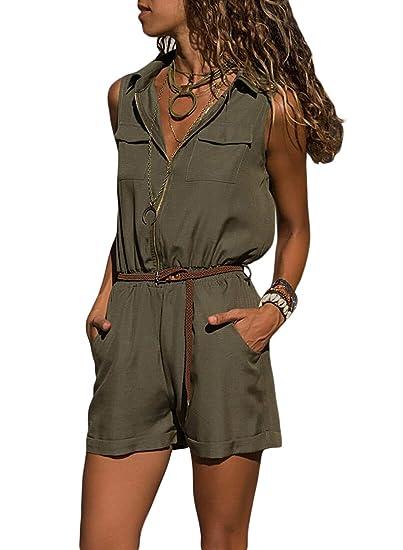 4324c61f681 Happy Sailed Damen Kurz O-Ausschnitt Elegant Jumpsuit Overall Hosenanzug Playsuit  Romper S-XXL  Amazon.de  Bekleidung