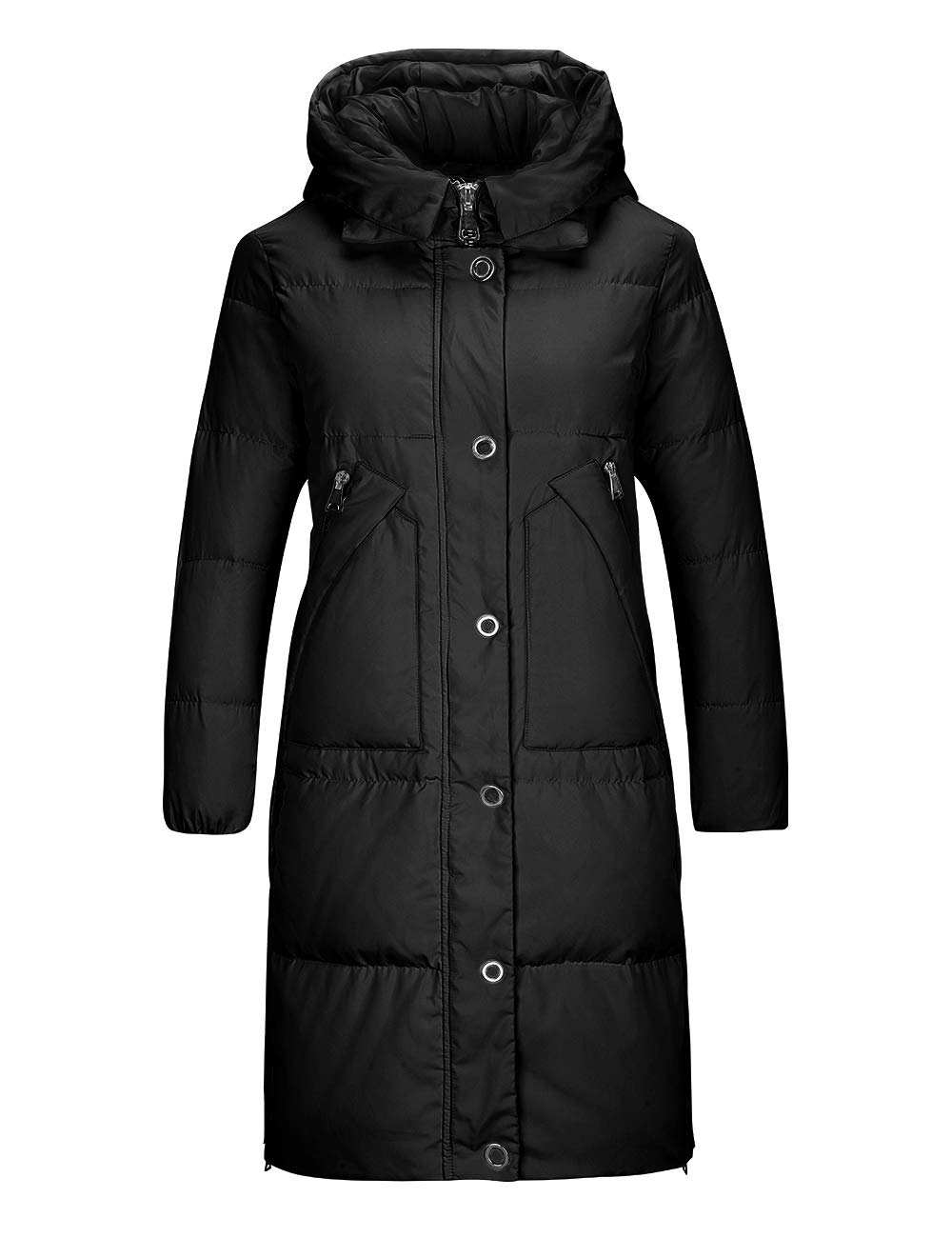 INCHOICE Women's Long Down Jacket with Hood - Petite Sports Outdoor Thickened Down Puffer Coat for Ladies Water Resistant Winter Warm Parka Outerwear (Black, Small) by INCHOICE