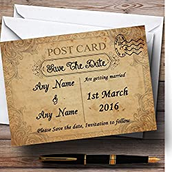 Classic Vintage Shabby Chic Postcard Personalized Wedding Save The Date Cards