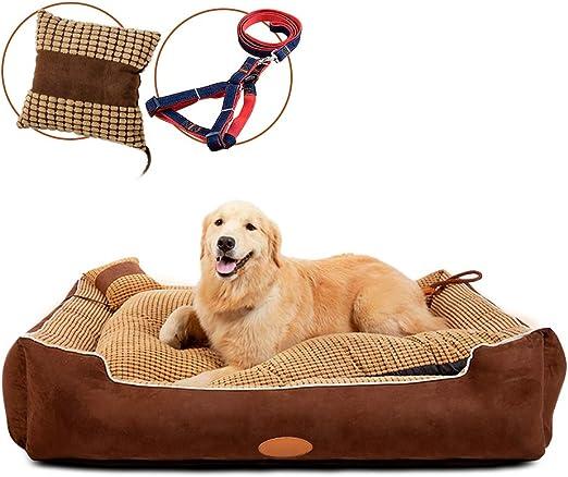 MASTERTOP cama perros cama cojin perro 90 x 68 x 26 cm con Correa Ajustable y Almohadilla para Mascotas Cama Reclinable de Sofá para Perros y Gatos que Durmen: Amazon.es: Productos para mascotas