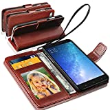 GBOS Xiaomi Mi Max 2 Rich Leather Stand Wallet Flip Case Cover Book Pouch / Quality Slip Pouch / Soft Phone Bag (Specially Manufactured - Premium Quality) Antique Leather Case Brown