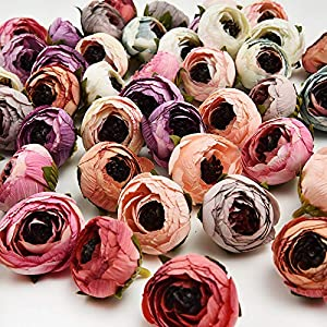 Artificial Flowers in Bulk Wholesale Daisy Mini Artificial Silk Rose Flowers Heads DIY Scrapbooking Fake Flower Kiss Ball for Wedding Decorative 25pcs 3cm(Multicolor) 57