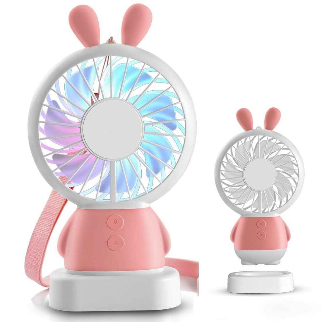 Alibuy Mini Handheld Table Fan USB Rechargeable Quiet Desk Fans,Battery Operated 2 Speeds with LED Colorful Lights for Hot Summer Pink