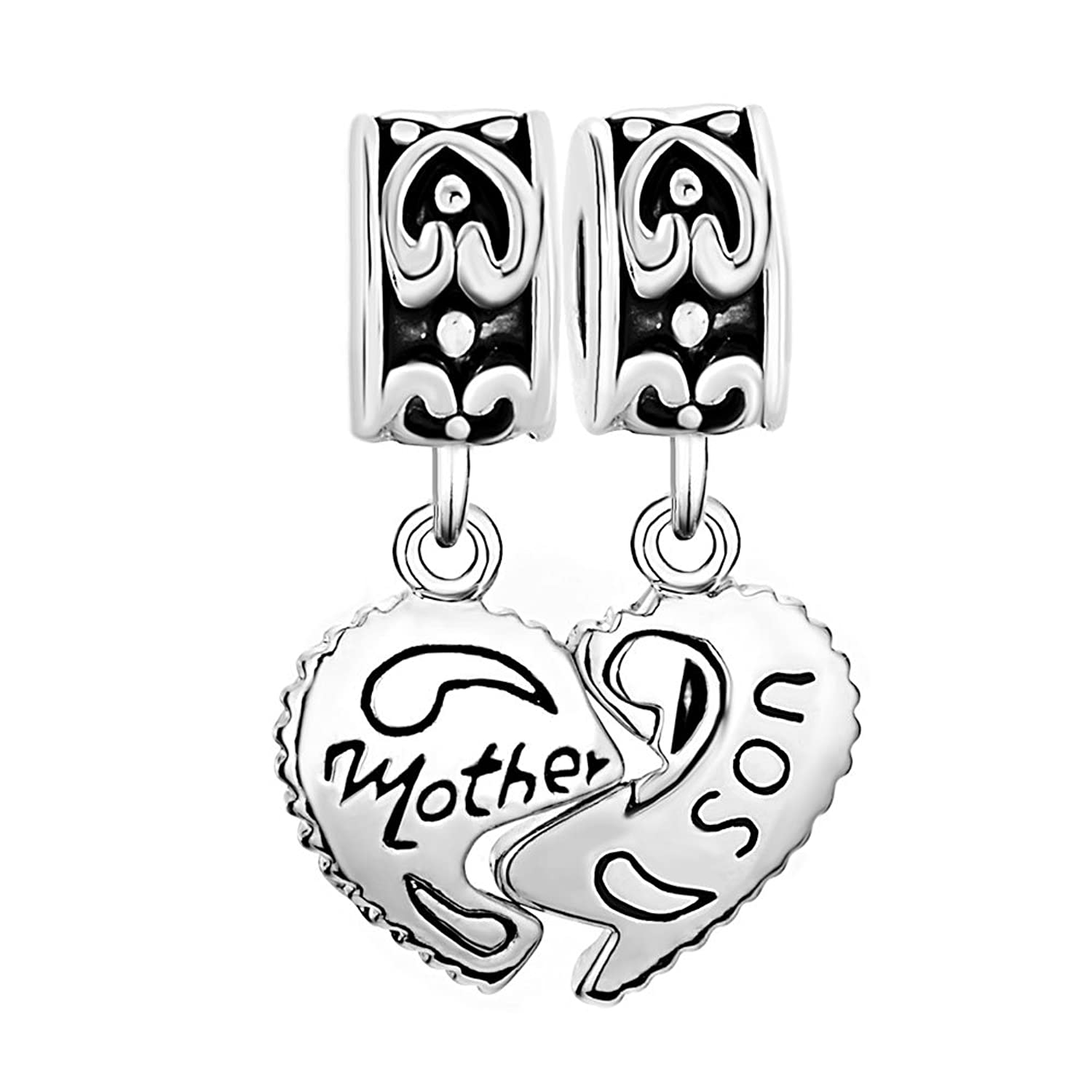 Amazon CharmsStory Sterling Silver Heart Mom Mother & Son