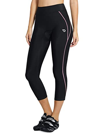 3389b765a7ab1 Baleaf Women's 3D Padded Compression Cycling Tights 3/4 Pants Wide  Waistband UPF ...
