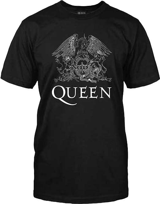 Queen - Classic Logo - Blanco Sobre Negro - Adulto Camiseta: Amazon.es: Ropa y accesorios