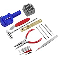 Queenser Kit de ferramentas de reparo de relógio de 16 unidades removedor de elo de fita e abridor de chave de fenda