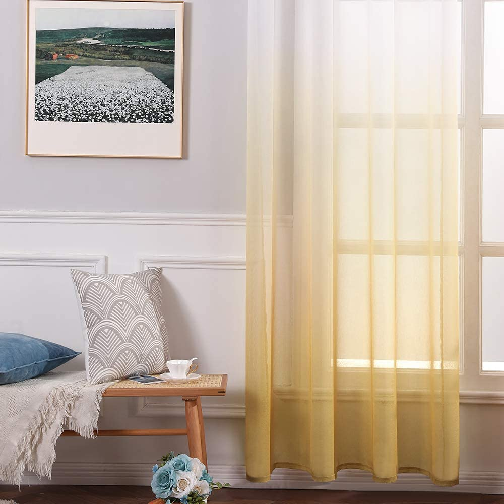 MIULEE 2 Panels Color Gradient Sheer Window Curtains Elegant Window Voile Panels//Drapes//Treatment for Bedroom Living Room 55 Wx88 L Grommet Top Blue+Yellow