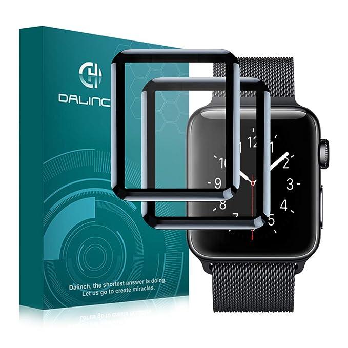 Pellicola Vetro Temperato Apple Watch 38mm Serie 1/Serie 2/Serie 3, [2 Pezzi] Dalinch iWatch Pellicola Protettiva [3D Vetro Temperato] Anti-Bolla, Compatibile con cover, Resistente ai Urti per Apple O