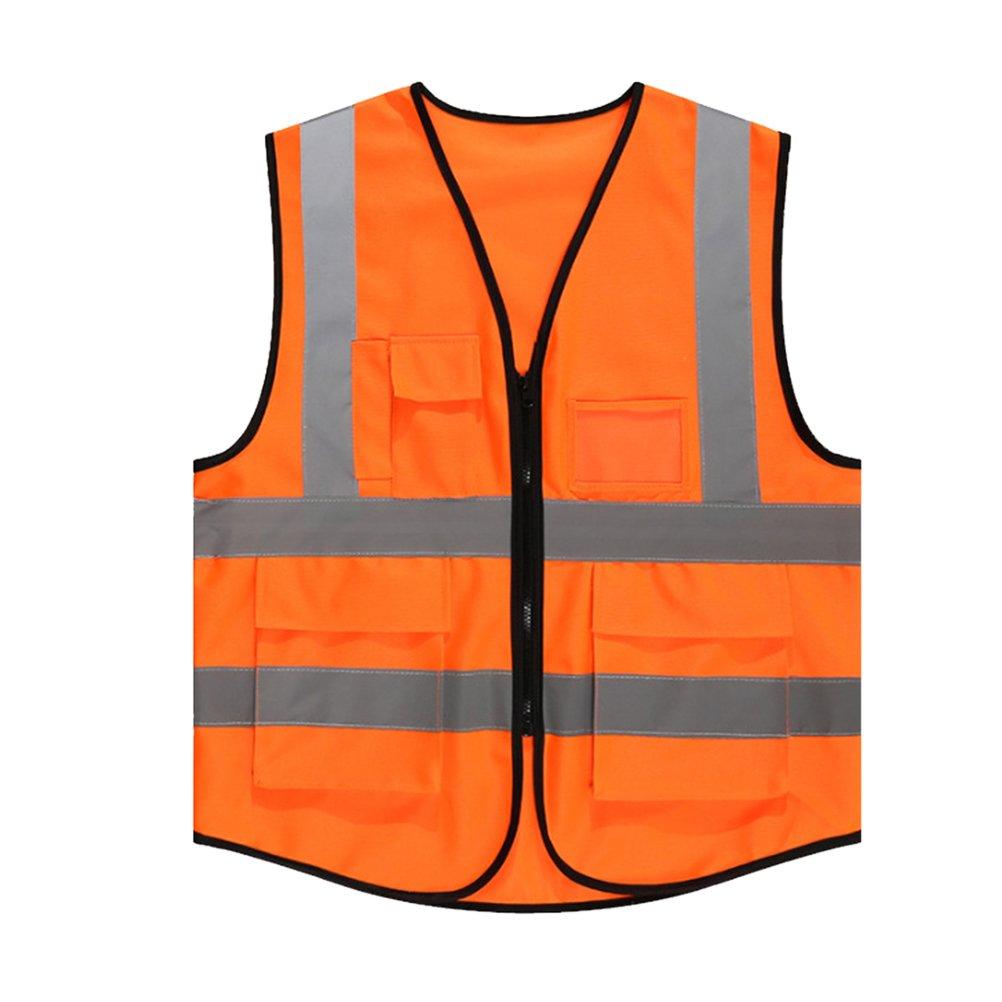 Tinksky Chaleco de seguridad reflectante de alta visibilidad con bolsillos y cremallera para el trá fico Construcció n Trabajadores de saneamiento Ciclismo nocturno FL004022R1