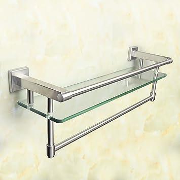 Alise SUS 304 Stainless Steel Bathroom Shelf With Towel Bar/Rail Shower Glass  Shelf Towel