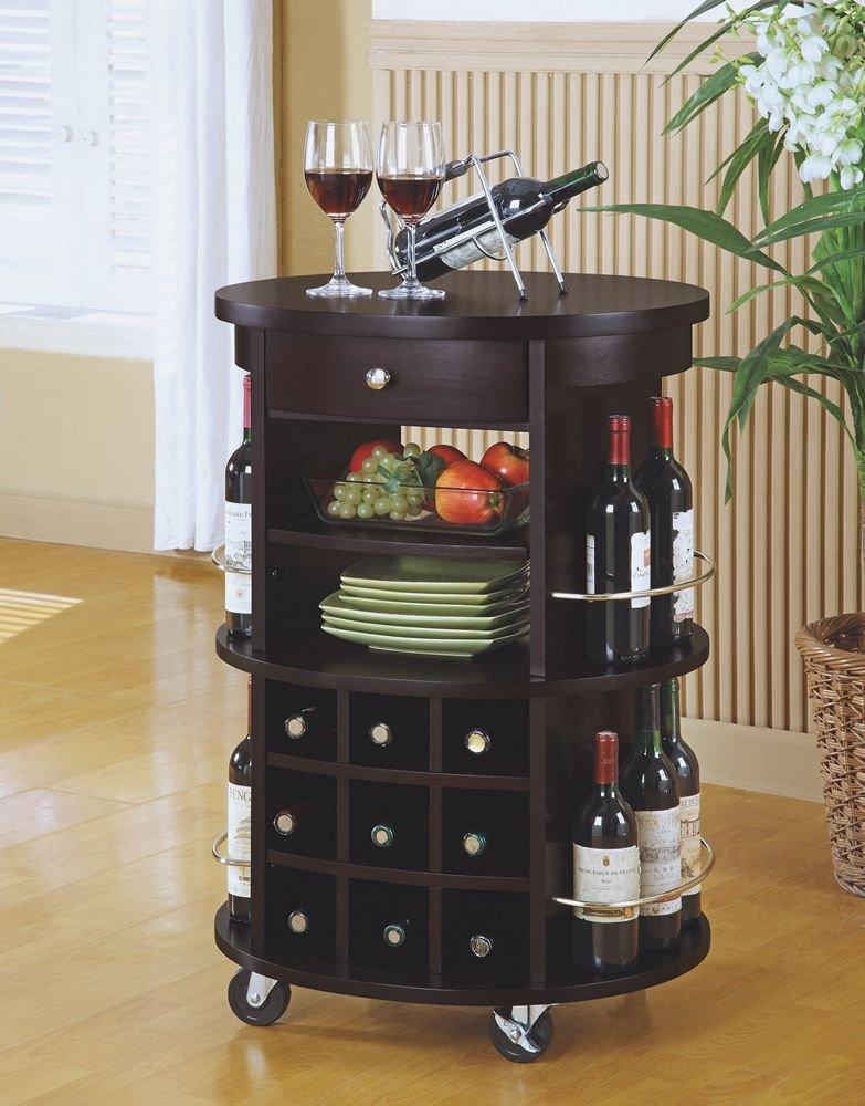 Amazon.com: Monarch Specialties Round Bar Serving Cart With Wine Storage,  Cappuccino: Kitchen U0026 Dining