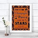 Burnt Orange Black Damask Drink Champagne Dance Stars Personalized Wedding Sign